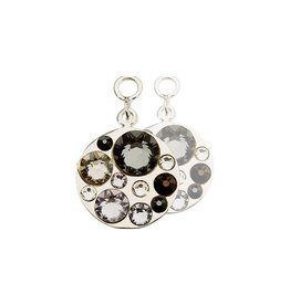 Nikki Lissoni Swarovski Crystal Silver Earring Coins