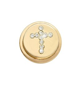 Nikki Lissoni 'Sparkling Cross' Gold Ring Coin