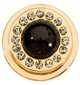 Nikki Lissoni Black Pearl & Swarovski Gold Ring Coin
