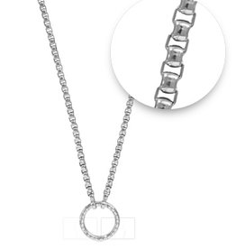"Nikki Lissoni 19"" Silver O-ring Necklace"