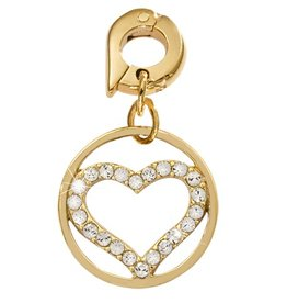 Nikki Lissoni 'Sparkling Heart' 15mm Gold Charm