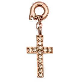 Nikki Lissoni 'Sparkling Cross' 20mm RG Charm