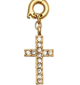 Nikki Lissoni 'Sparkling Cross' 20mm Gold Charm
