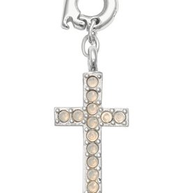 Nikki Lissoni 'Sparkling Cross' 20mm Silver Charm