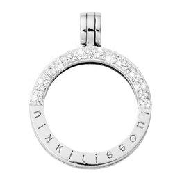 Nikki Lissoni Large Silver Half Pave Pendant