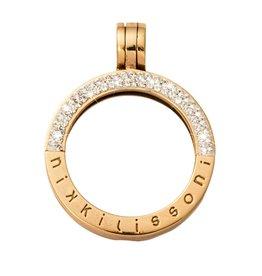 Nikki Lissoni Large Gold Half Pave Pendant