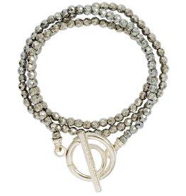 Nikki Lissoni Silver Pyrite Bead Bracelet