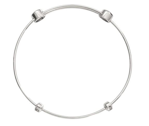 """Nikki Lissoni 6.5"""" Silver Plated Charm Bangle"""