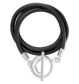 Nikki Lissoni Black Leather Wrap Bracelet