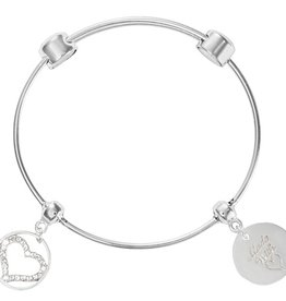 Nikki Lissoni Sparkling Heart Silver Charm Bangle