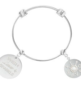 Nikki Lissoni 'L.O.V.E.' Silver Charm Bangle