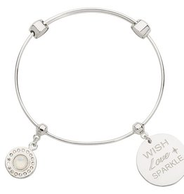 Nikki Lissoni 'Wish, Love, Sparkle'  Silver Charm Bangle