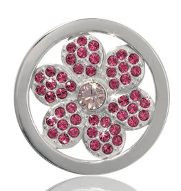 Nikki Lissoni Pink Flower' Small Silver Coin