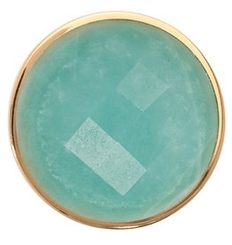 Nikki Lissoni Deep 'Aqua Quartzite' Medium Gold Coin