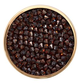Nikki Lissoni 'Brown Rock Crystal' Medium Gold Coin