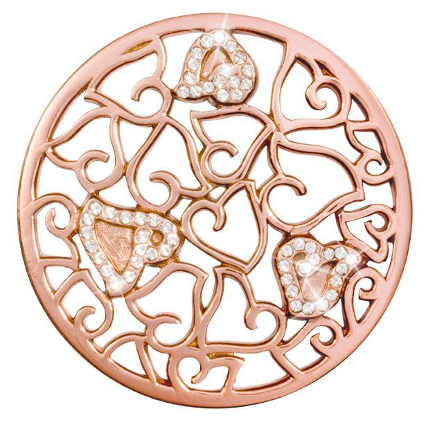 Nikki Lissoni Nikki Lissoni 'Baroque Sparkling Hearts' Large RG Coin - C1479RGL