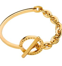 "Nikki Lissoni 7"" Bangle and Chain Combination Gold Bracelet"