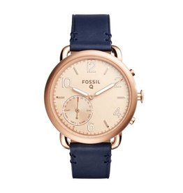 The Fossil Group Hybrid Q - Tailor Dark Navy Leather Smartwatch