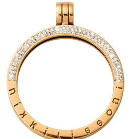 Nikki Lissoni Medium Gold Half Pave  Pendant