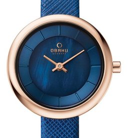Obaku Watches Women's Obaku Stille - Navy Leather & Rose Gold