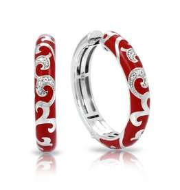 Belle Etoile Royale Hoops Red & Sterling Silver