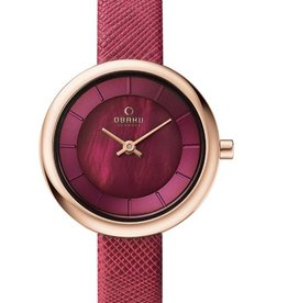 Obaku Watches Women's Obaku Stille - Cherry Leather & Rose Gold