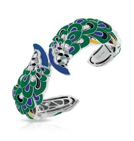Belle Etoile Love in Plume  Green & Sterling Bangle