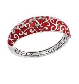 Belle Etoile Royale Red Italian Enamel & Sterling Bangle