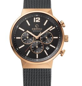 Obaku Watches Men's Storm -  Night & Rose Gold