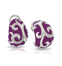 Belle Etoile Royale Orchid Italian Enamel & Sterling Earrings
