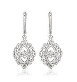 Sterling Silver Fancy Micro Pave Earrings