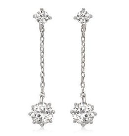 Sterling Silver & CZ  Drop Earrings