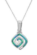 Sterling & Blue Opal Square Swirl Pendant Set