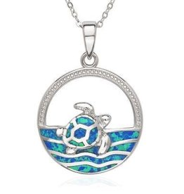 Sterling & Blue Opal Sea Turtle Pendant Set