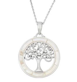 Sterling & Mother of Pearl Tree Pendant Set