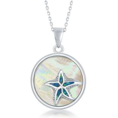 Sterling & Mother of Pearl Starfish Pendant Set