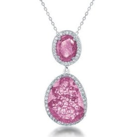 Sterling Silver Double Oval Pink Ice & CZ Pendant Set