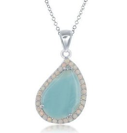Larimar & Opal Steling Silver Teardrop Pendant Set