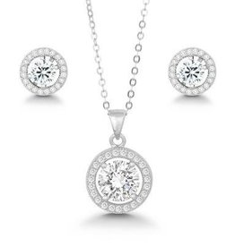 Sterling Silver & CZ Halo Set