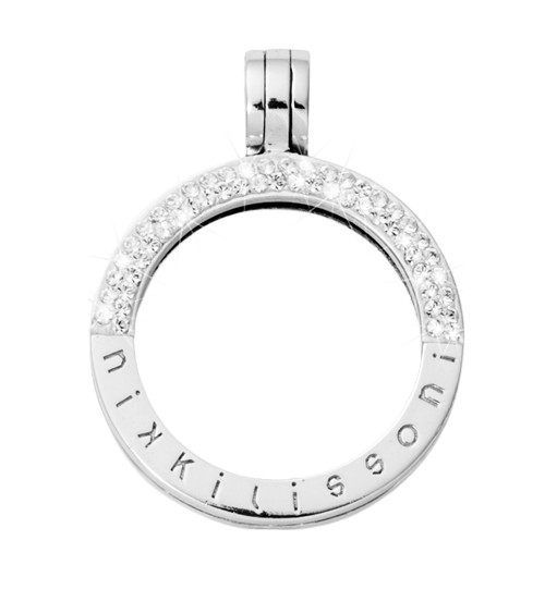 Nikki Lissoni Nikki Lissoni Small Silver Half Pave Pendant - P07SS