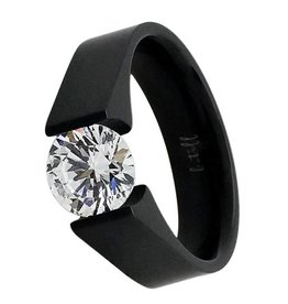 B. Tiff New York Black Stainless 2.0 ct Tension Set Ring - Size 6