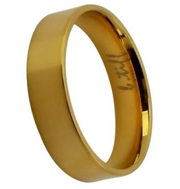 B. Tiff New York Brushed Gold Stainless Band - Size 8