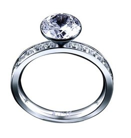 B. Tiff New York Stainless Steel Eternity Solitaire  - Size 6