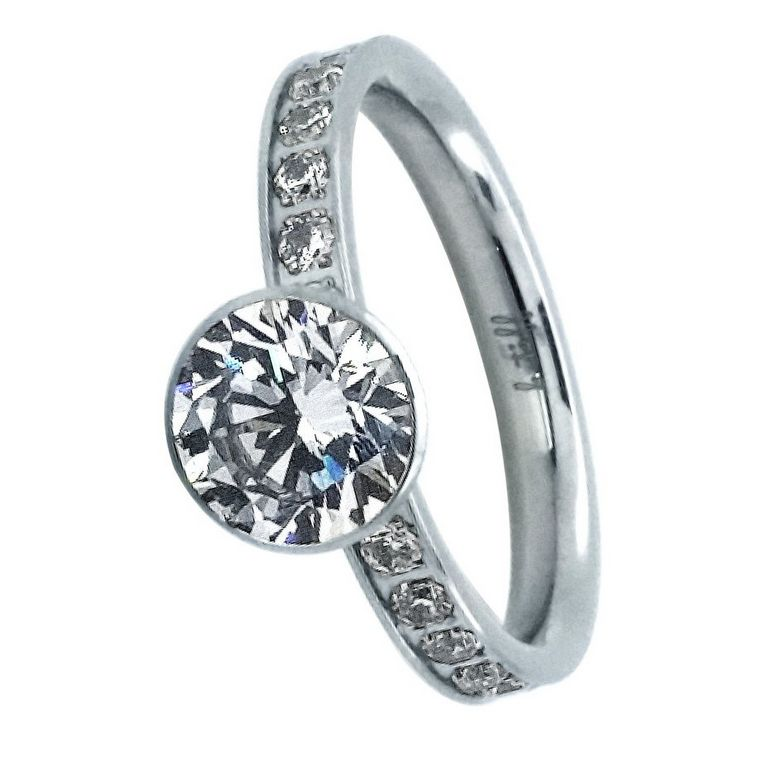B. Tiff New York B. Tiff Stainless Steel Eternity Solitaire  - Size 6