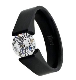 B. Tiff New York Black Stainless 2.0 ct Tension Set Ring - Size 7