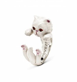 Coles of London Cat Fever White Enamel Persian Silver Hug Ring