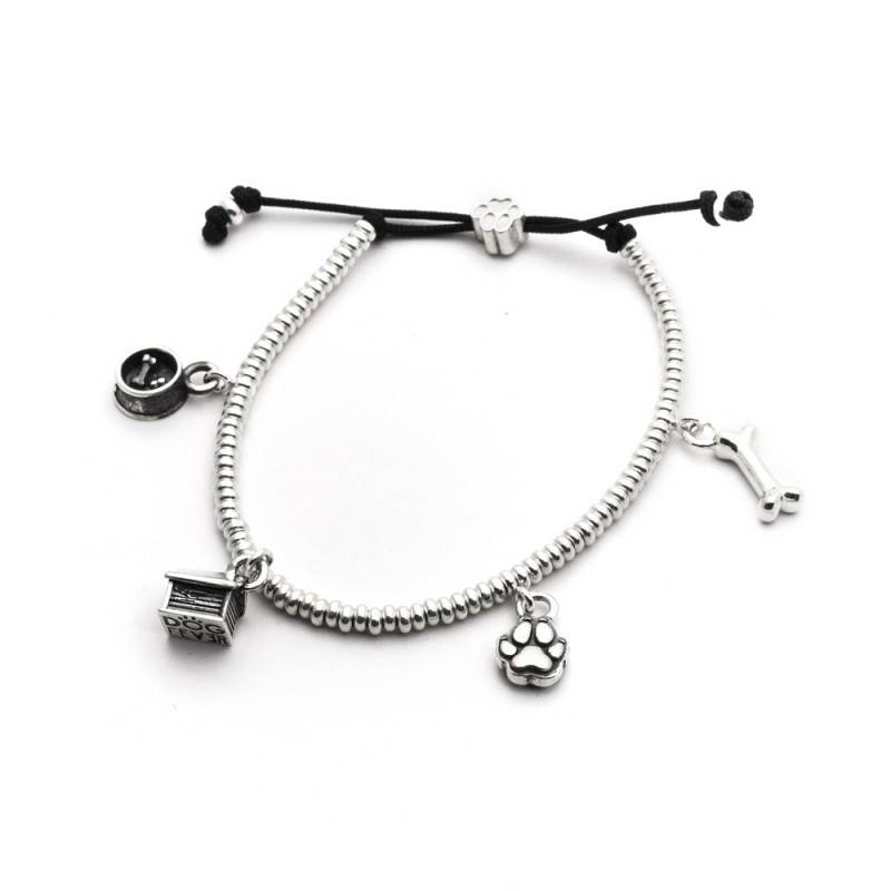 Adorable Sterling Silver Dog Charm Bracelet By Dog Fever Golden