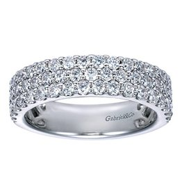 Gabriel & Co. 14K Three Row Diamond Ring 1.22 ctw