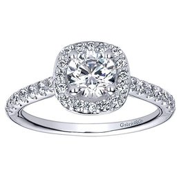 Gabriel & Co. 14K Halo Ring Mount .38 ctw