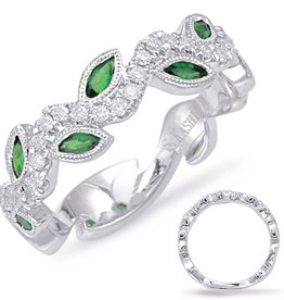 S. Kashi 14K Tsavorite and Diamond Floral Eternity Band